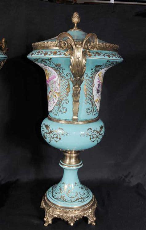 Large Floral Vases by Large German Dresden Porcelain Floral Urns Vases