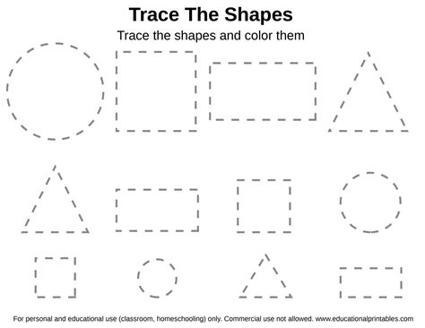 shape tracing worksheets  printable shape tracing