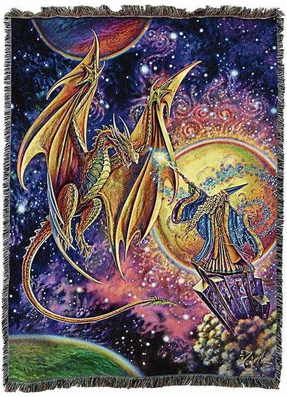 Dragon Wizard Tapestry Magic Blanket Gifts