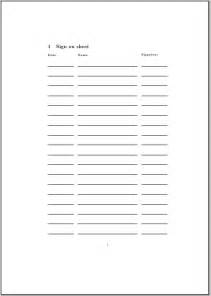 Petition Sign Up Sheet Template Page Table Template Tex Stack Exchange