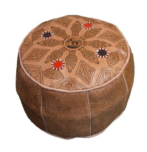 Hassock Ottoman by Leather Pouf Carved Moroccan Pooff Pouff Hassack Middle