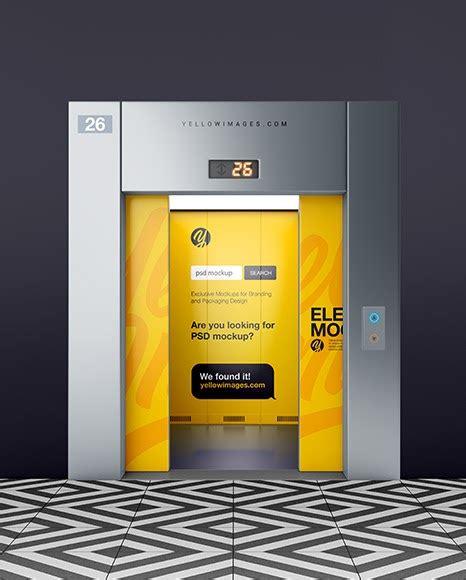 Psd mockup id 56344 in bucket & pail mockups 1 0 0. Elevator With Half Opened Doors PSD Mockup