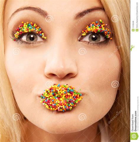 bright makeup stock photo image  decoration lips
