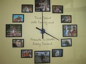 Diy giant family photo wall clock do it yourself fun ideas for Diy family wall clock