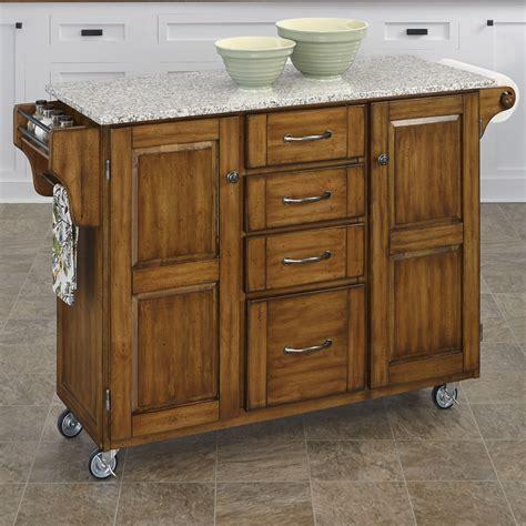 home styles create  cart kitchen island  granite top