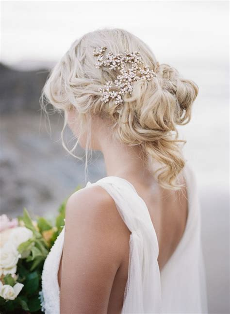 Messy Wedding Updo Hairstyle With Hair Accessories