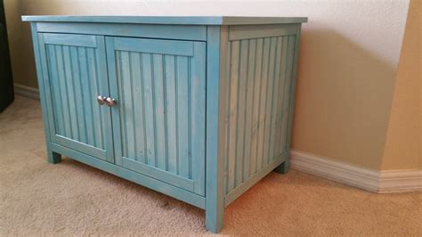 tall litter box cabinet aqua large odor free custom hand made in usa wood cat