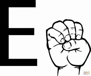 Asl sign language letter e coloring page free printable for Letter a sign