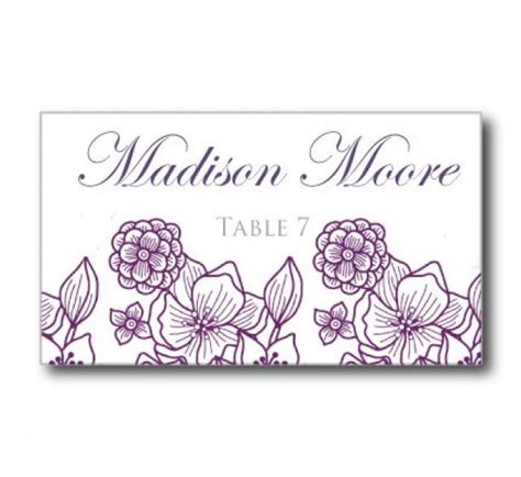 wedding place card template flowers purple silver