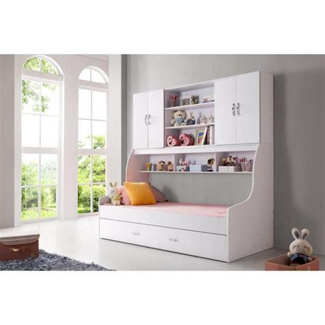 Lit enfant blanc 90x200 avec tiroir et rangement mural