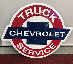 Chevrolet, Truck, Service, Embossed, Metal, Sign