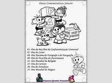 Pequenos Grandes Pensantes Datas Comemorativas de Janeiro