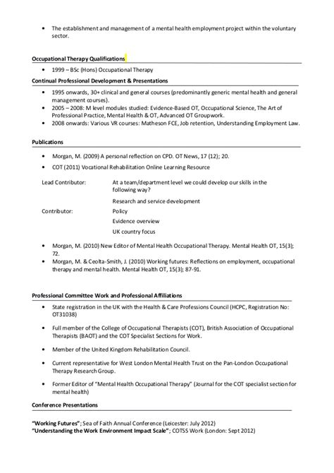 curriculum vitae occupational therapist cv brief mm