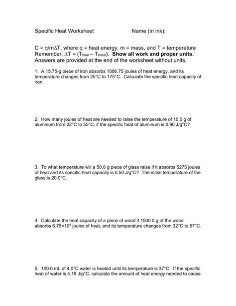 Worksheet Specific Heat Worksheet With Answers Grass