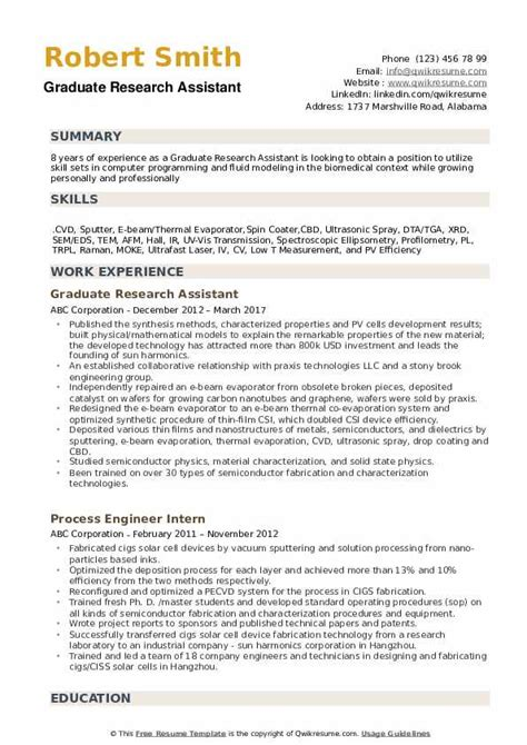 Research Assistant Resume by Graduate Research Assistant Resume Sles Qwikresume