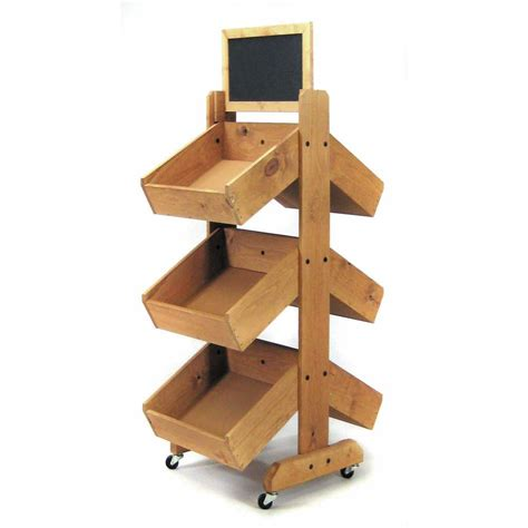 double sided mobile wood bin display stand