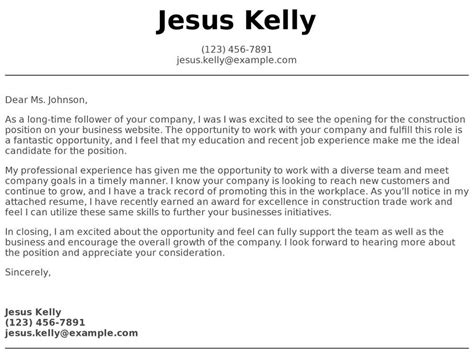 construction cover letter examples samples templates