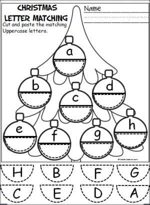 Free Christmas Ornament Alphabet Activity Students Cut