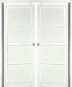 Porte A Galandage Double : porte coulissante neptune h tre massif blanc satin paul ~ Premium-room.com Idées de Décoration