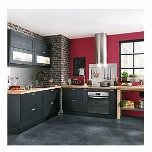 deco salon cuisine equipee gris anthracite mur rouge With idee deco cuisine avec cuisine laqué gris anthracite