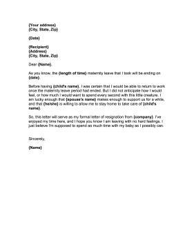 resignation letter  maternity leave