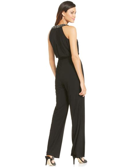 vince jumpsuit vince camuto wide leg beaded halter jumpsuit in black lyst
