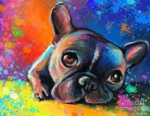 Whimsical Colorful French Bulldog Painting by Svetlana ...