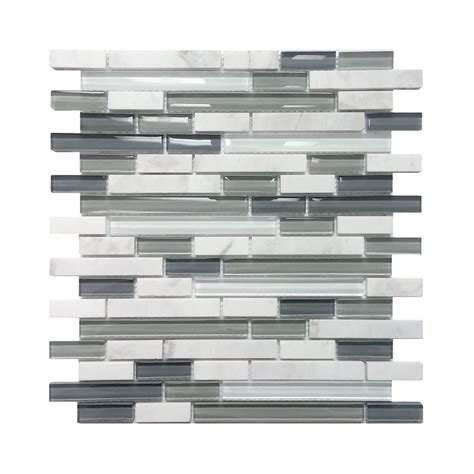 lowes canada backsplash tile avenzo 5 8 in arctic white gray glass wall