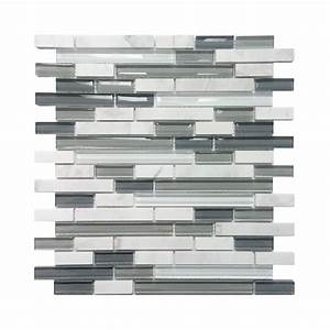 Avenzo 5 8 in arctic strip white gray stone glass wall for Kitchen cabinets lowes with decorative tiles for wall art