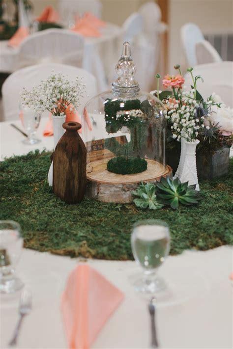 Rustic Peach And Green Farm Wedding Moss Centerpiece