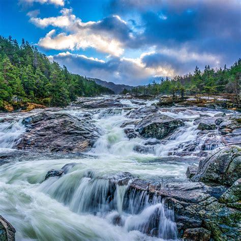 Download Wallpaper 2780x2780 Waterfall Stones Rocks Landscape Night Trees Ipad Air Ipad