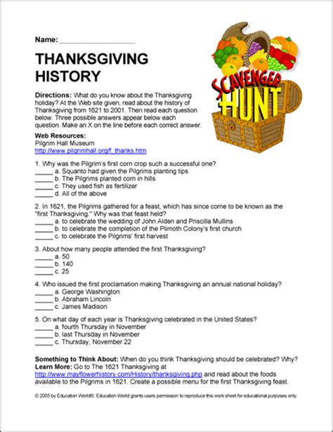 scavenger hunt story of thanksgiving education world