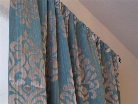 Pair Of Teal With A Gray Damask Print Curtains
