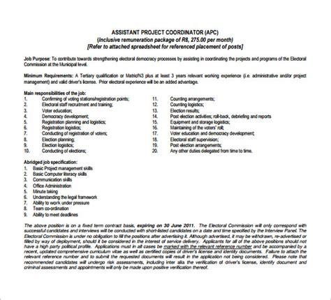project coordinator job description templates