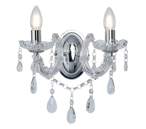 searchlight marie therese 2 light wall light chrome