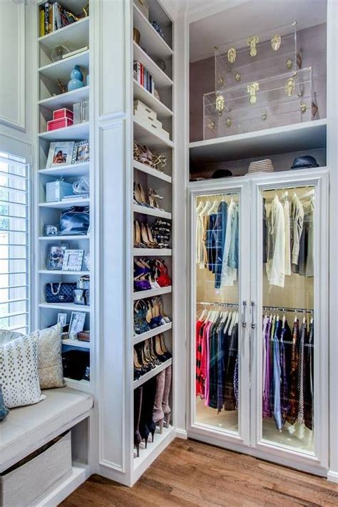 cool seating ideas for your walk in walk in closet with window seat and shoe shelves 10