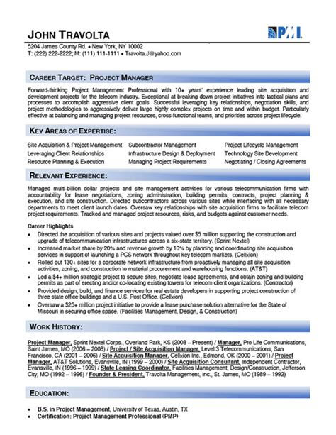 telecom project management resume