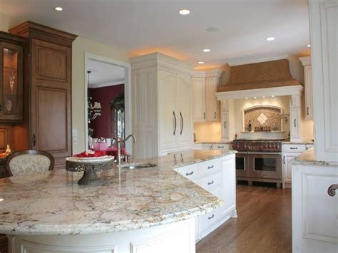 this kitchen 39 s unique island and counters feature a