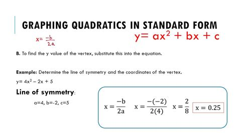 find standard form from graph graphing quadratic equations in standard form powerpoint