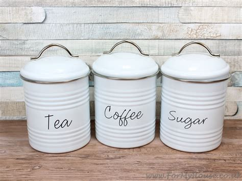 white kitchen storage jars white metal tea coffee sugar canisters storage kitchen 1407