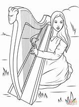 Harp Celtic Coloring Pages Playing David Printable Celts Irish Harpe Drawing Angels Play Saul St Musical Coloriage Celtique Ireland Mandala sketch template