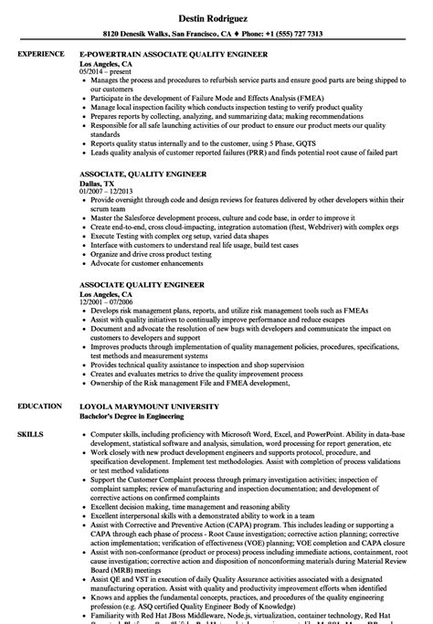Quality Resume by Resume Exles Quality Engineer Quality Engineer Resume