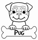 Pug Coloring Printable Pages Pugs Dog Sticker sketch template
