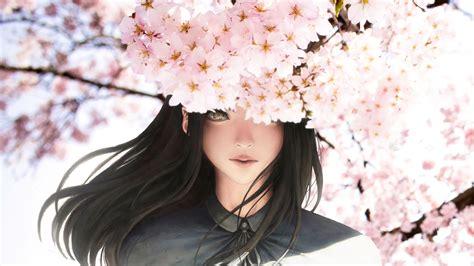 wallpaper anime girl beautiful cherry blossom sakura