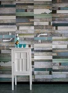 Papier Peint Trompe L Oeil Bois : papier peint trompe l 39 oeil imitation bois bleu scrapwood ~ Premium-room.com Idées de Décoration