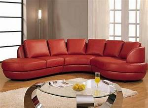 Gorgeous red leather sectional sofa with chaise and small for Round coffee table with sectional sofa