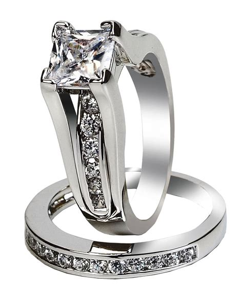 womens simulated princess sterling silver wedding engagement ring size 5 10 ebay