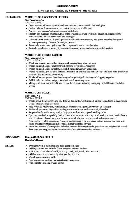 Order Processing Resume by Warehouse Picker Resume Bijeefopijburg Nl