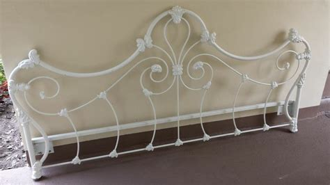 antique heavy duty painted white wrought iron king headboard images frompo