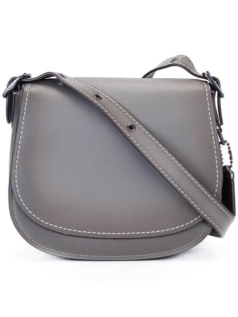 coach saddle  leather cross body bag  grey gray lyst